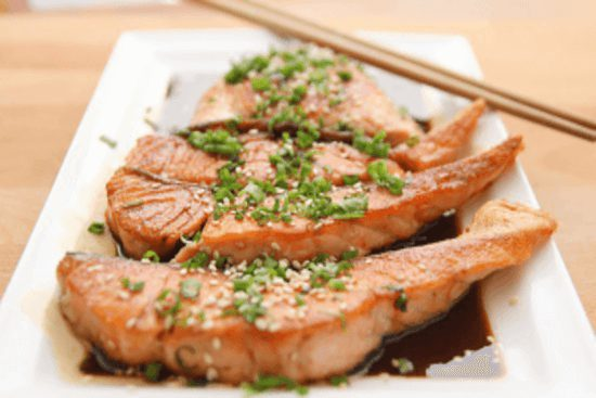 Delicious plate of vietnamese caramel salmon cook instant pot