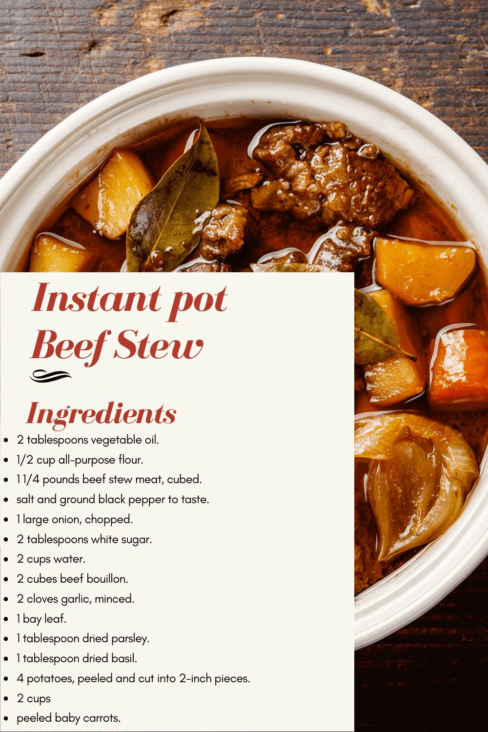 all you need to make beef stew with your instant pot