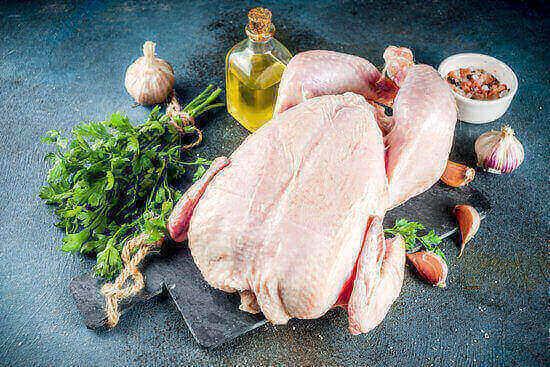 Instant pot whole chicken ingredients in blue backround