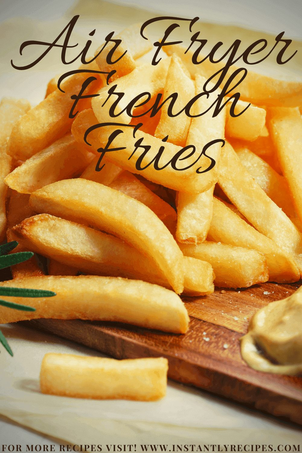 Air fryer frozen french fries with ketchup and moutard sauce