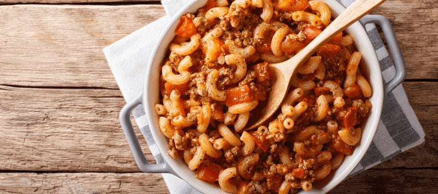 American goulash dish in a table  of wood