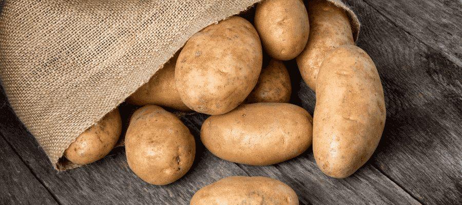 Russet burbank potatoes in bag