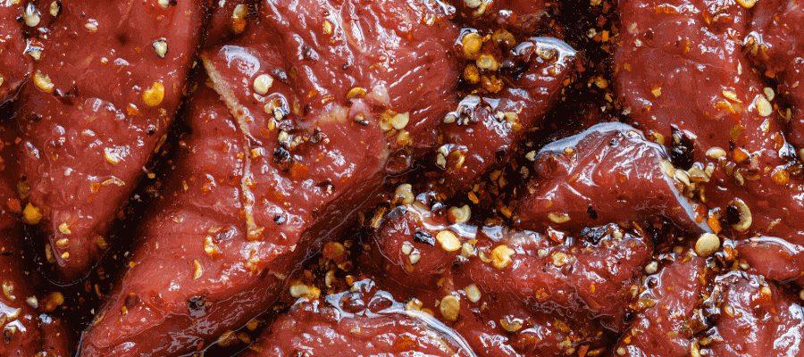 marinating of beef jerky