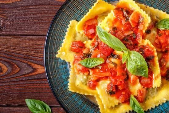 dish of ravioli with tomato sauce
